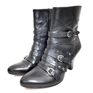 Corso Como Black Leather Ankle Booties w/ Buckles